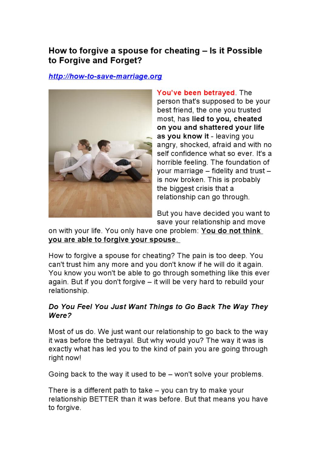 How to forgive a spouse for cheating – Is it Possible to