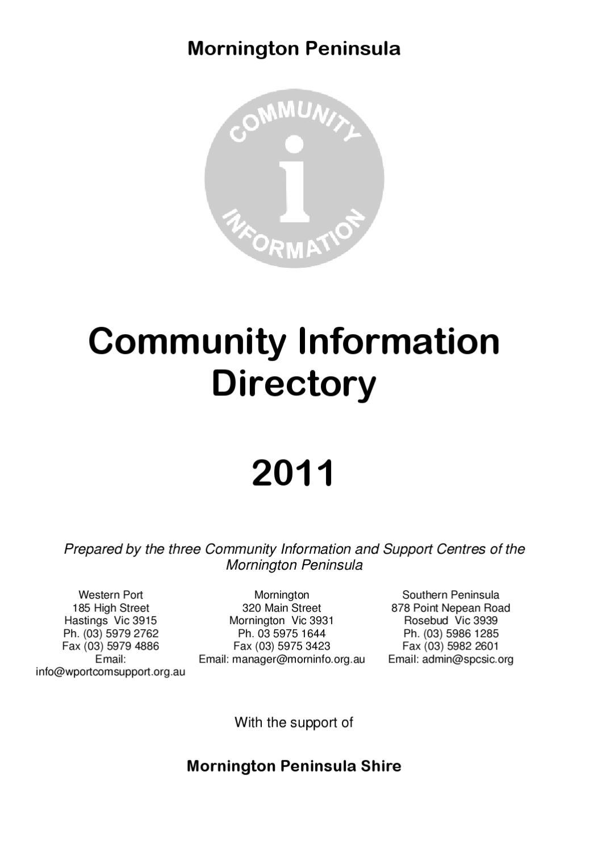 Mornington Peninsula Community Directory by Philip Jensen
