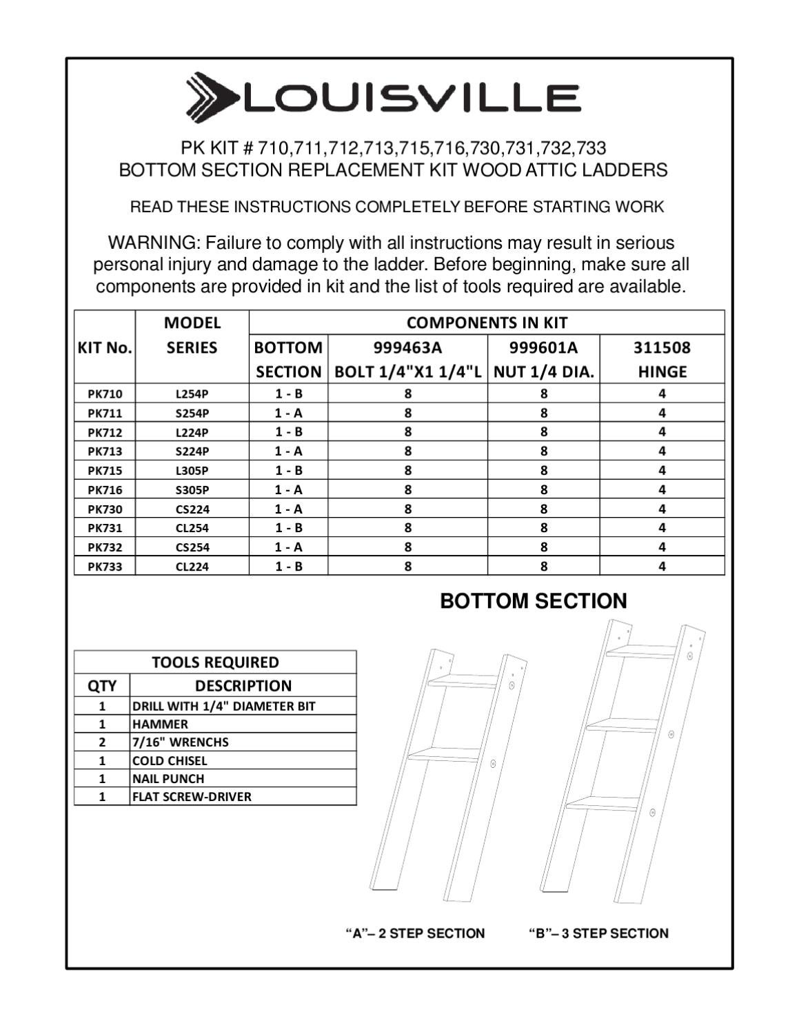 Bottom Section Replacement Kit By Louisville Ladder Inc Issuu