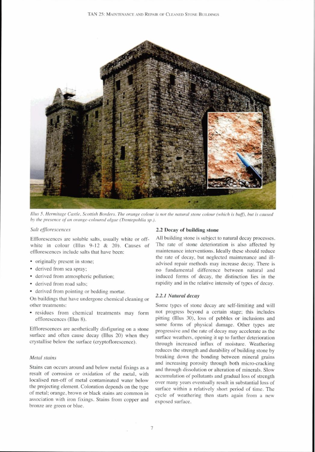 TAN 25 - Maintenance and Repair of Cleaned Stoned Buildings by