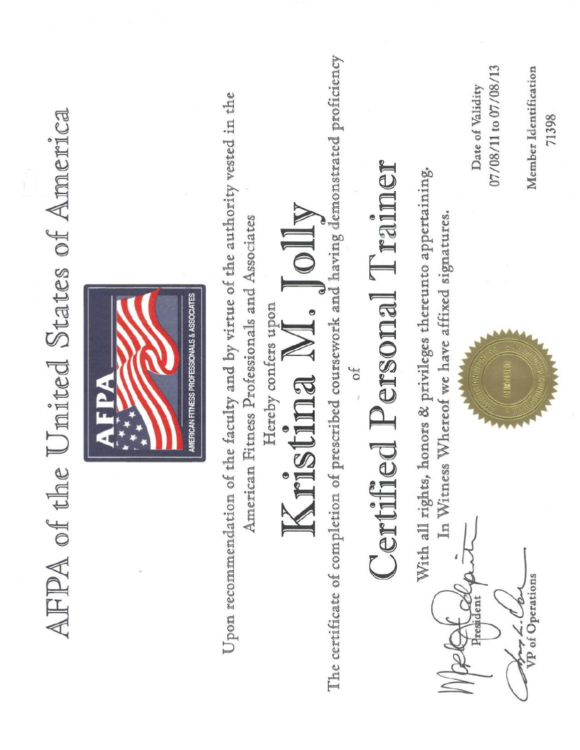 Afpa Personal Trainer Certification By Kristina Jolly Issuu