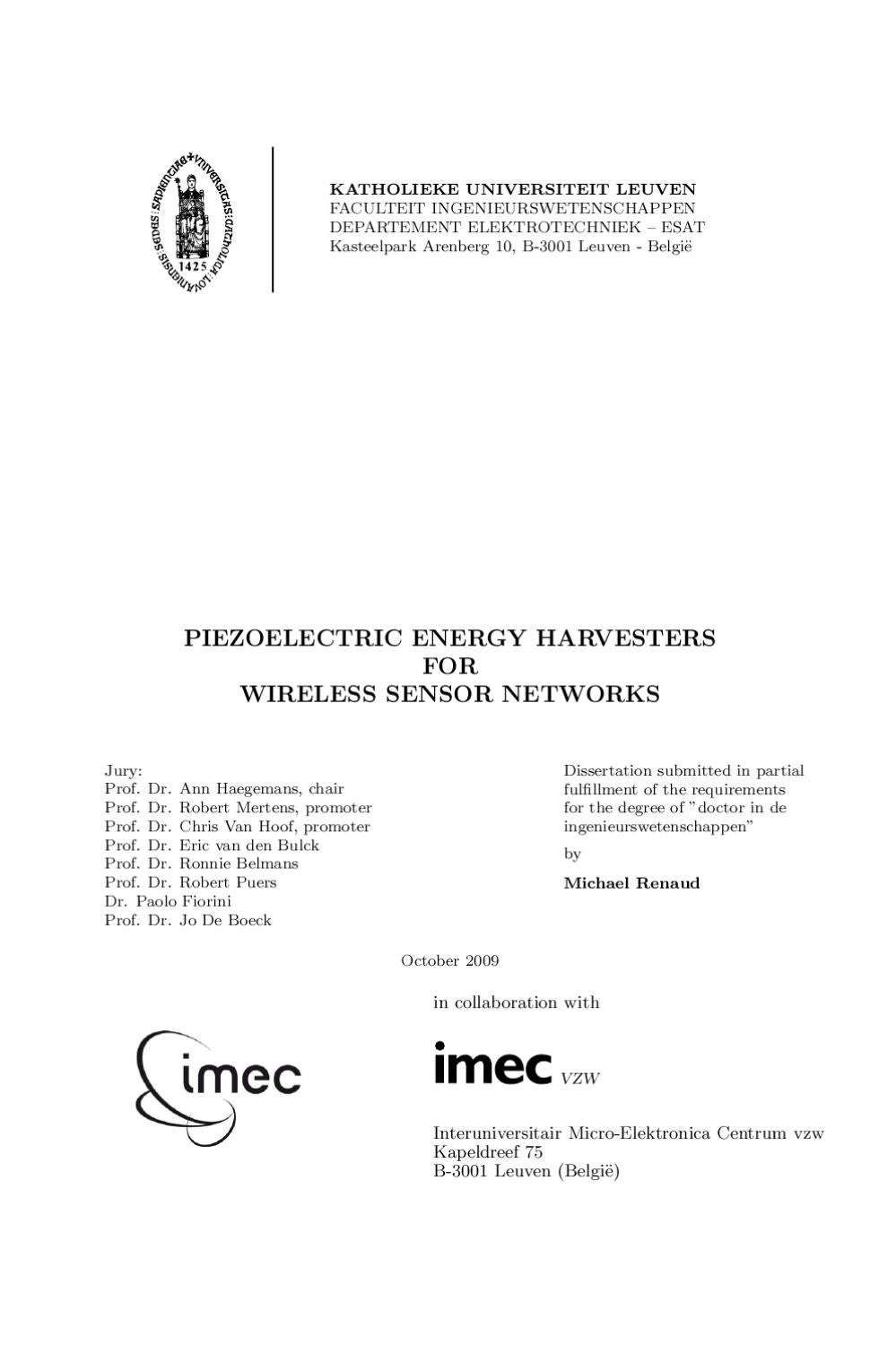 Piezoelectric Energy Harvesters For Wireless Sensor Networks By Harvesting Circuit Michael Renaud Issuu