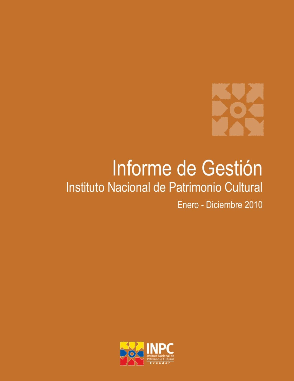 INFORME DE GESTIÓN 2010 by INPC Ecuador - issuu a5c3ae6309d