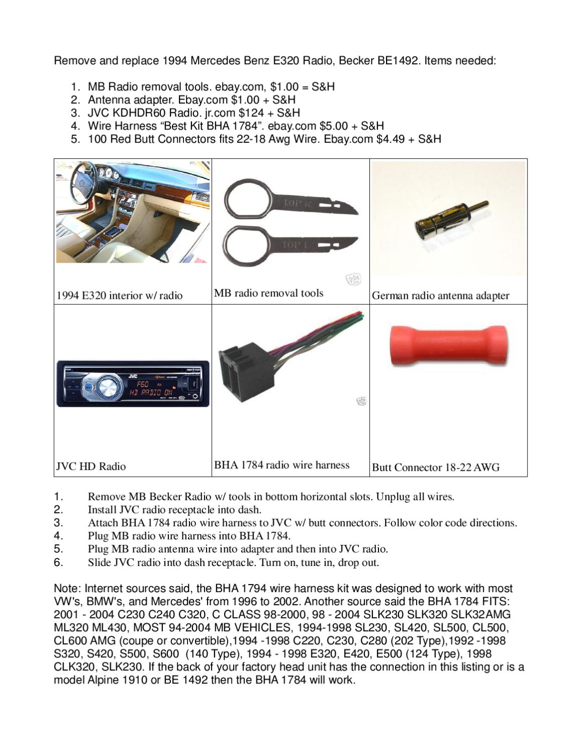 Remove And Replace Radio 1994 Mercedes Benz By Michael Hickey Issuu Jvc Wiring Harness Color Code