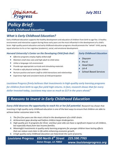 Policy Brief Early Childhood Education By Ryan West Issuu