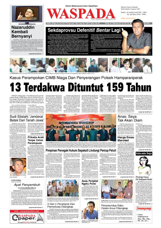 Waspada Rabu 20 Juli 2011 By Harian Issuu Produk Umkm Bumn Lapis Surabaya Panjang Hj Enong