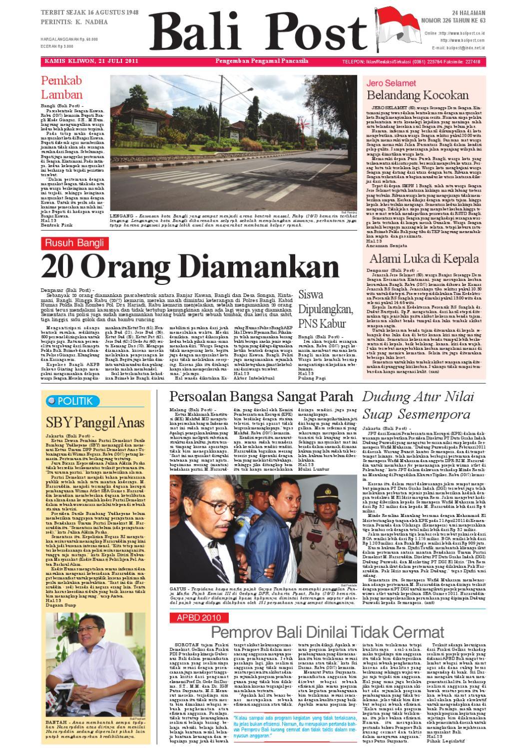 Edisi 21 Juli 2011   Balipost.com by e-Paper KMB - issuu