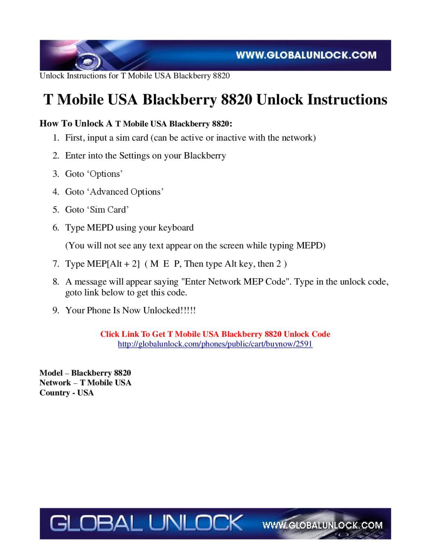 T Mobile USA Blackberry 8820 by Global Unlock - issuu