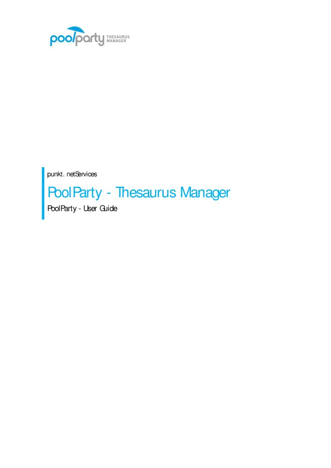 PoolParty Thesaurus Management - User Manual by Semantic Web Company