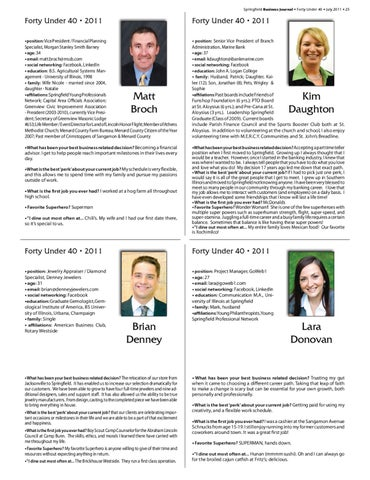 Springfield Business Journal Forty Under 40 July 2011 25