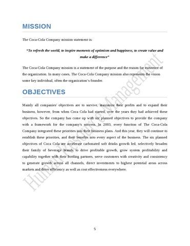 strategic business plan for coca-cola company