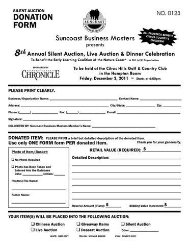 silent auction donation form