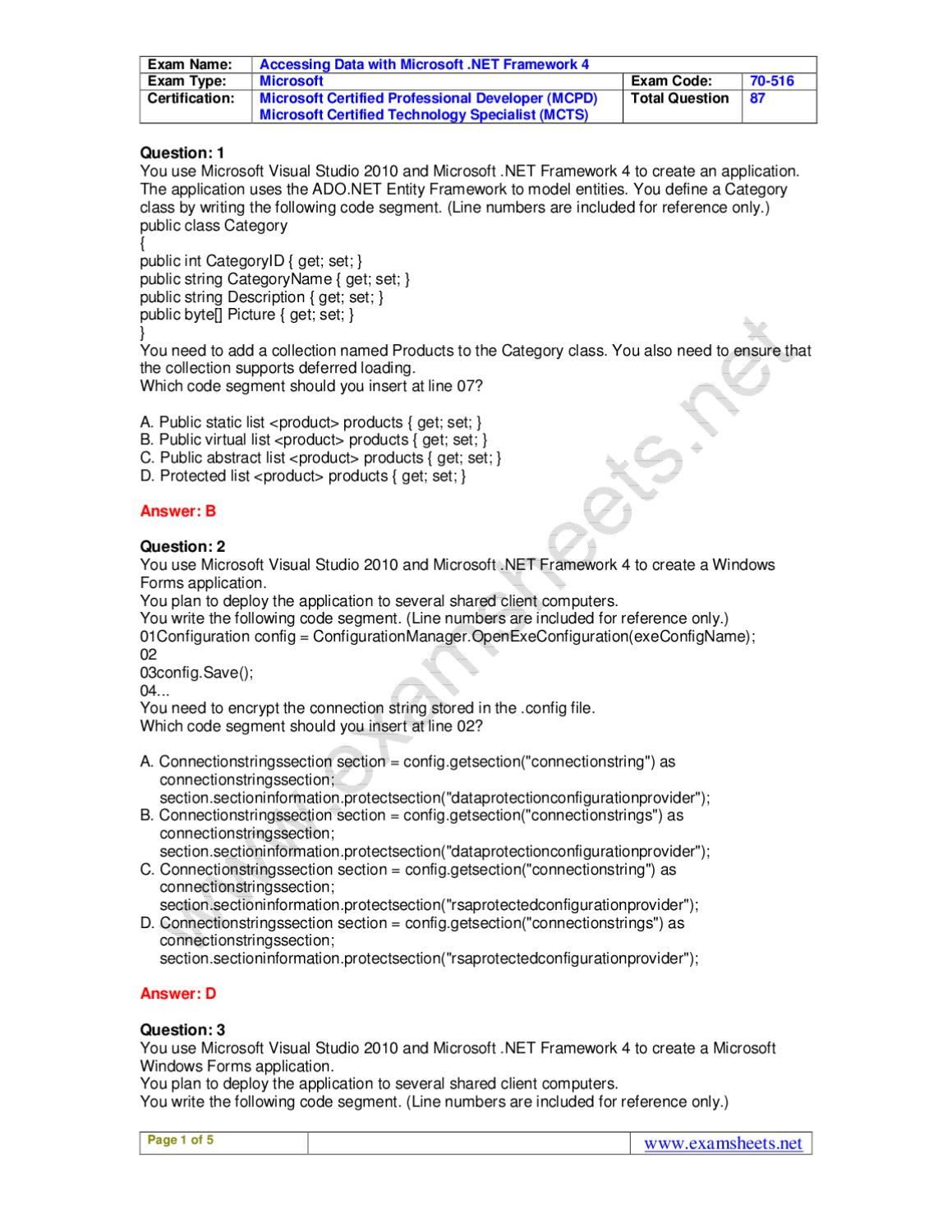 Exam sheets 70 516 practice exam questions microsoft 70 516 exam exam sheets 70 516 practice exam questions microsoft 70 516 exam preparation by robecca william issuu xflitez Image collections