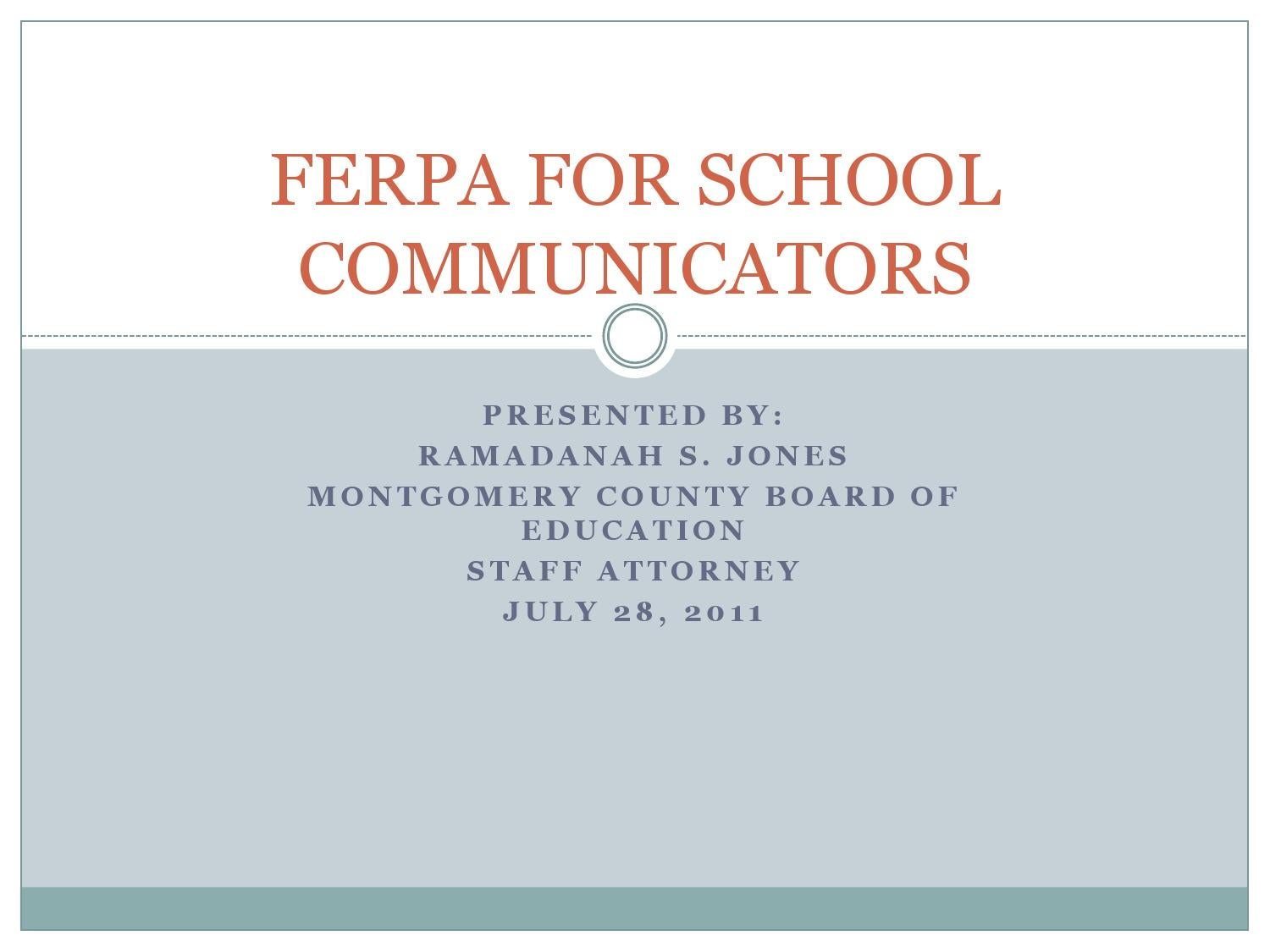 Pr Basics Family Educational Rights And Privacy Act Ferpa By
