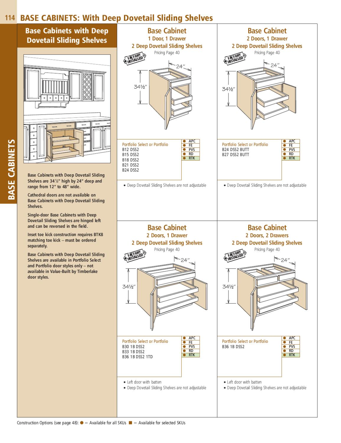 12 Deep Base Cabinets 2012 Specification Guide By Timberlake Cabinetry By Timberlake