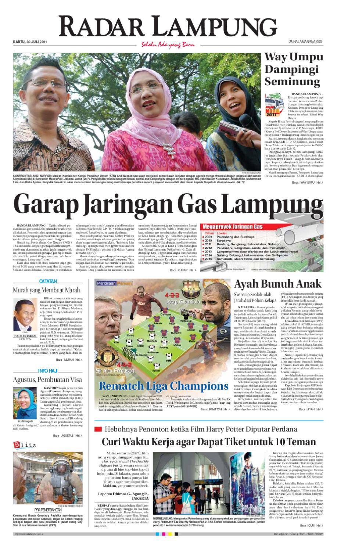 Radar Lampung Sabtu 30 Juli 2011 By Ayep Kancee Issuu Produk Ukm Bumn Sprei Waterproof Anti Ompol Motif