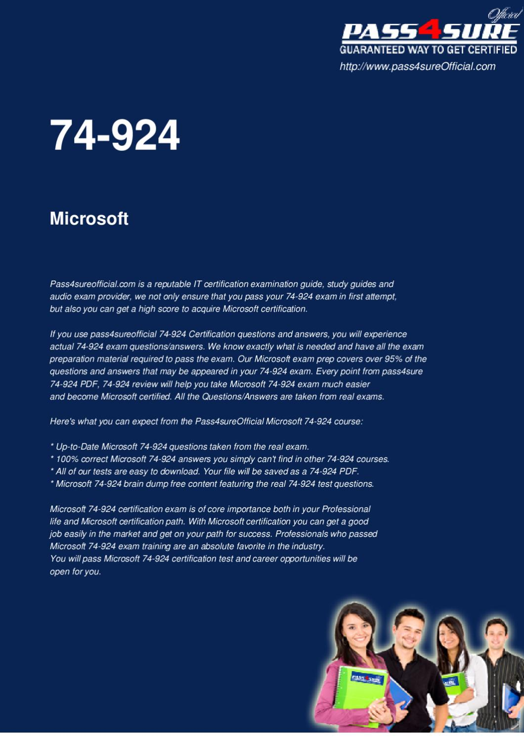 Microsoft 74 924 Real Questions By Ipass4sure Issuu