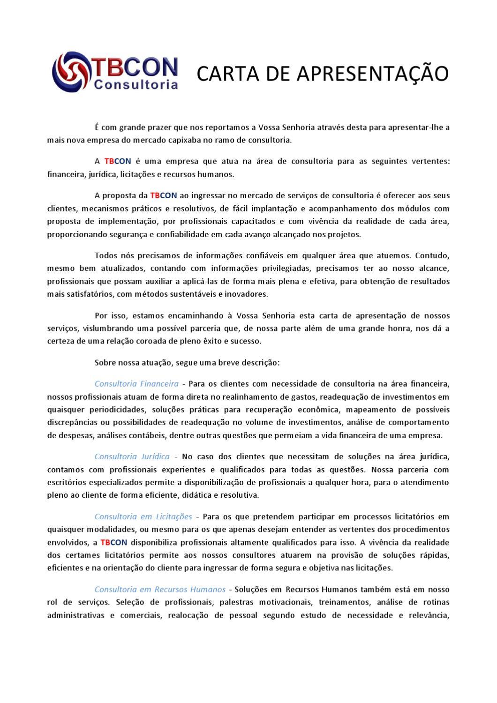 Carta de apresentacao de empresa para novos clientes