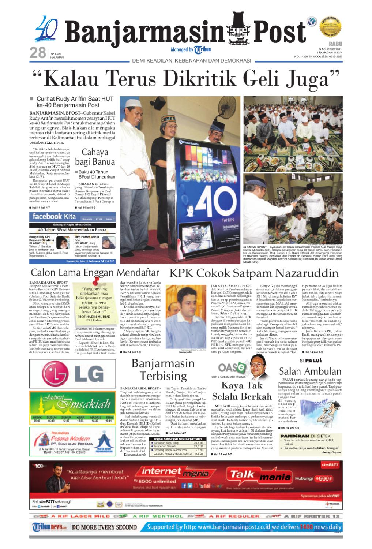 Banjarmasin Post Edisi Cetak Rabu 3 Agustus 2011 By Cut Off Machine Hitachi 16 Cc 16sb Include Ppn Issuu