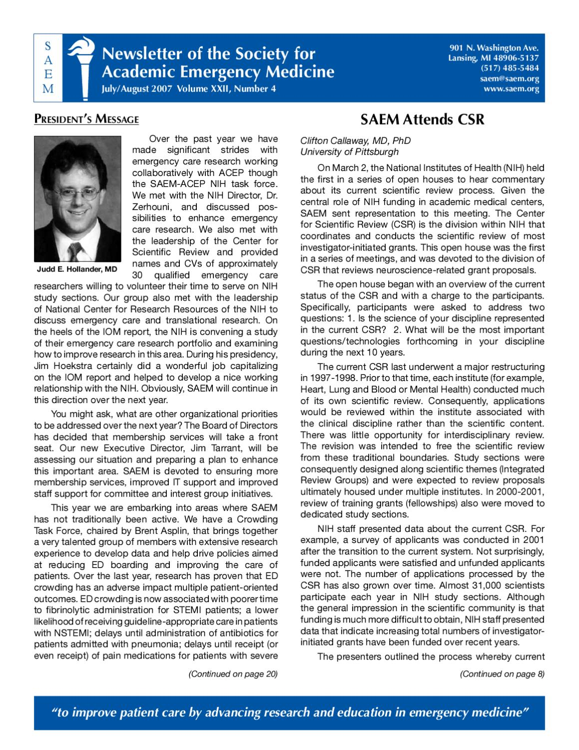July-August 2007 by Society for Academic Emergency Medicine - issuu
