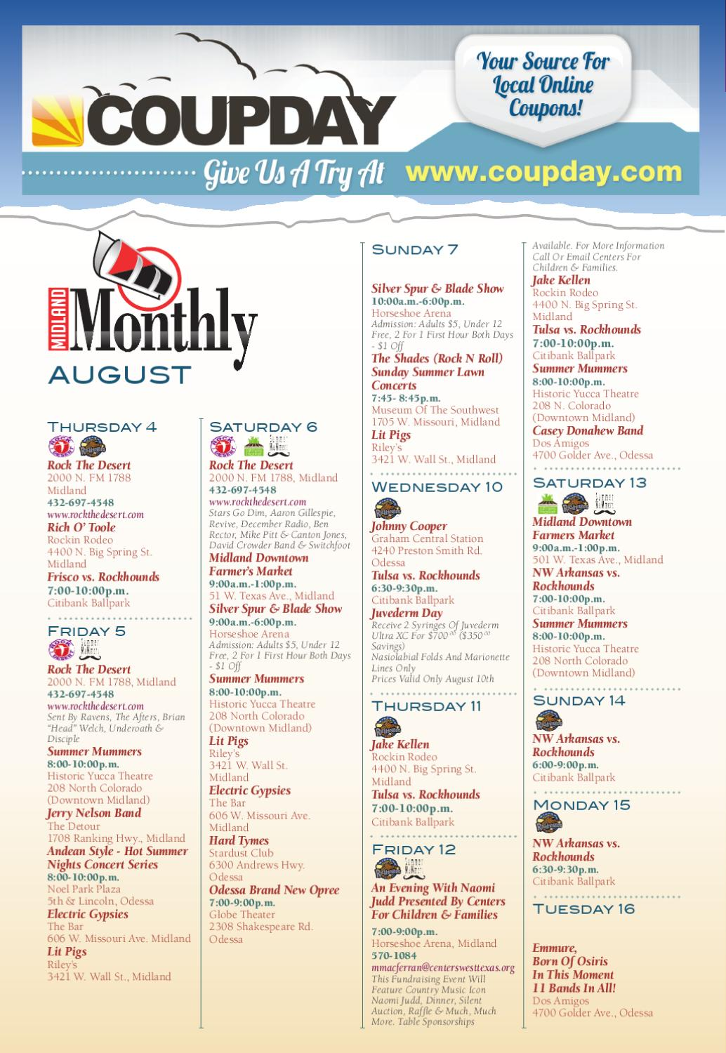 August Calendar Of Events Midland And Odessa Tx By Midland