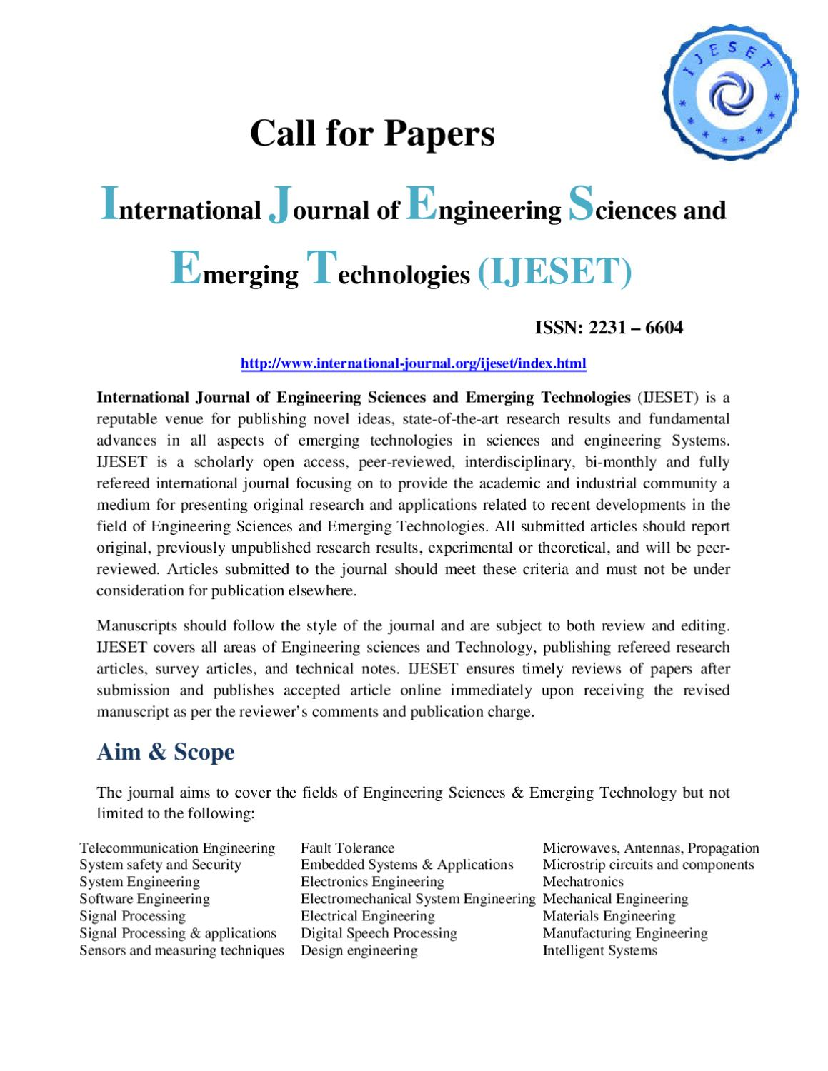 International Journal Of Engineering Sciences And Emerging Technologies Ijeset By Dr P Singh Issuu