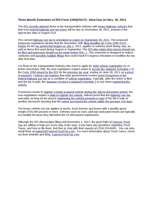 E-file IRS Heavy Vehicle Use Tax & Fuel Tax IFTA Form 2290