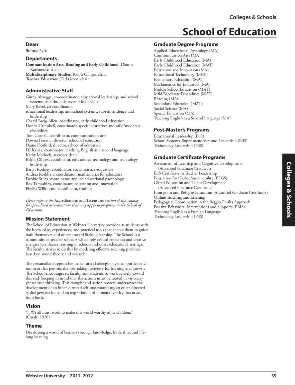Webster University Graduate Studies Catalog By Webster University