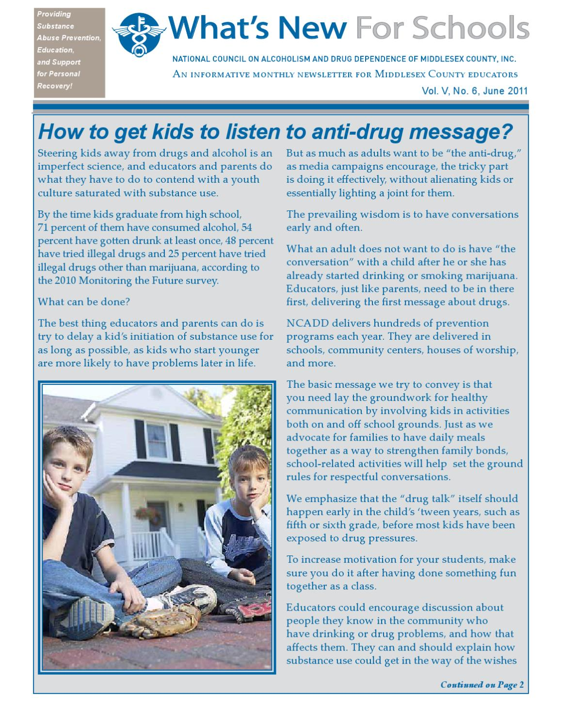 Start Conversations Early About Drugs >> Wnfs0611 By Ncadd Of Middlesex County Inc Issuu