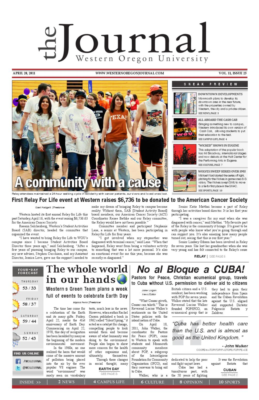 Western Oregon Journal (2010-2011) Issue 25 by Jeffrey