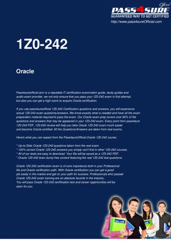 Oracle 1Z0-242 PDF Download by Officialcerts com - issuu