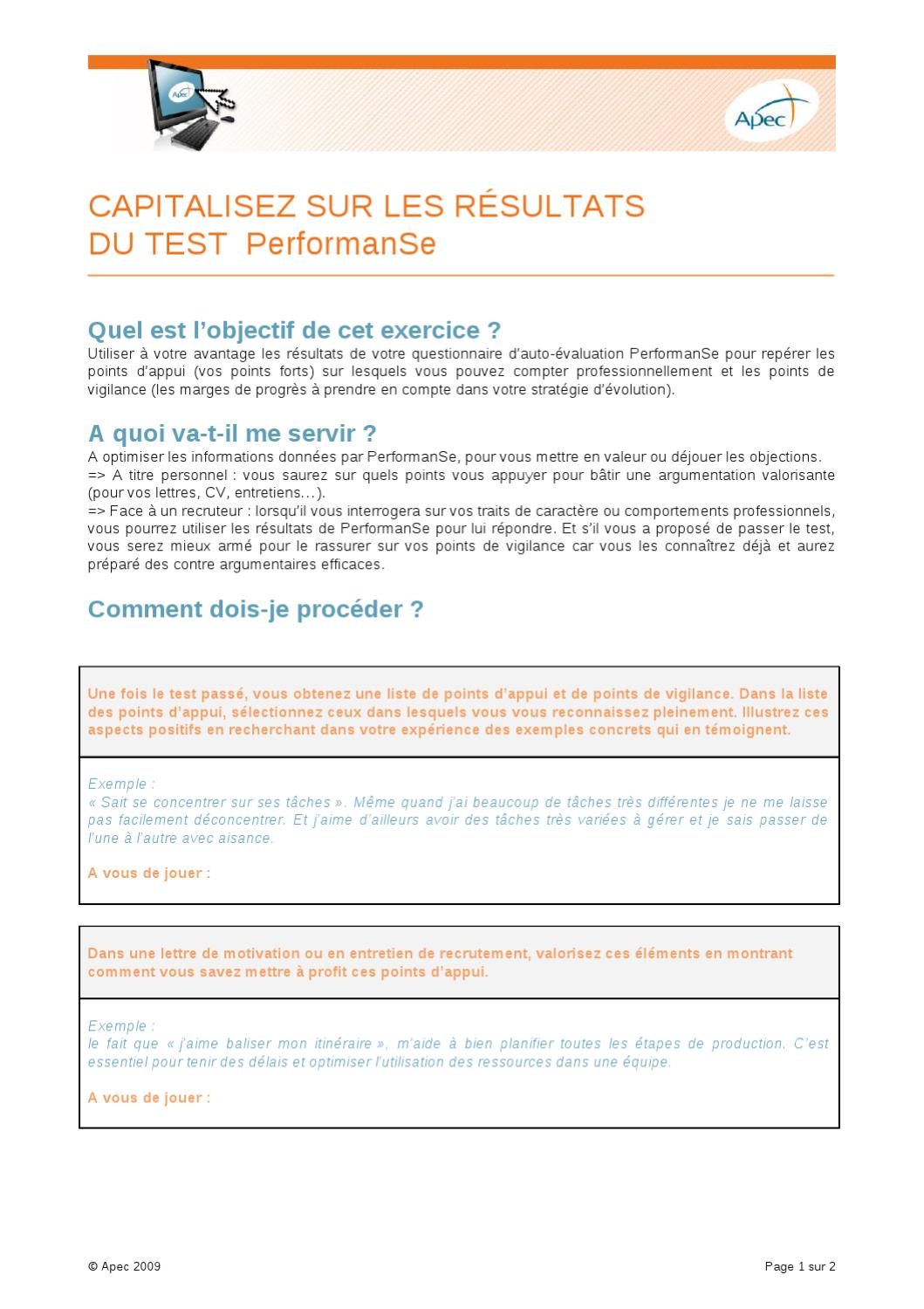 capitalisez sur les resultats du test performanse by apec