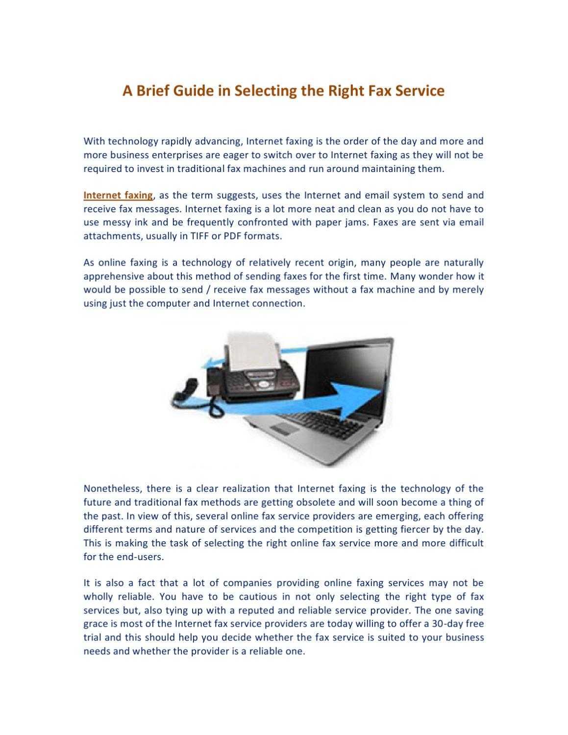 A Brief Guide in Selecting the Right Fax Service by James Allen - issuu