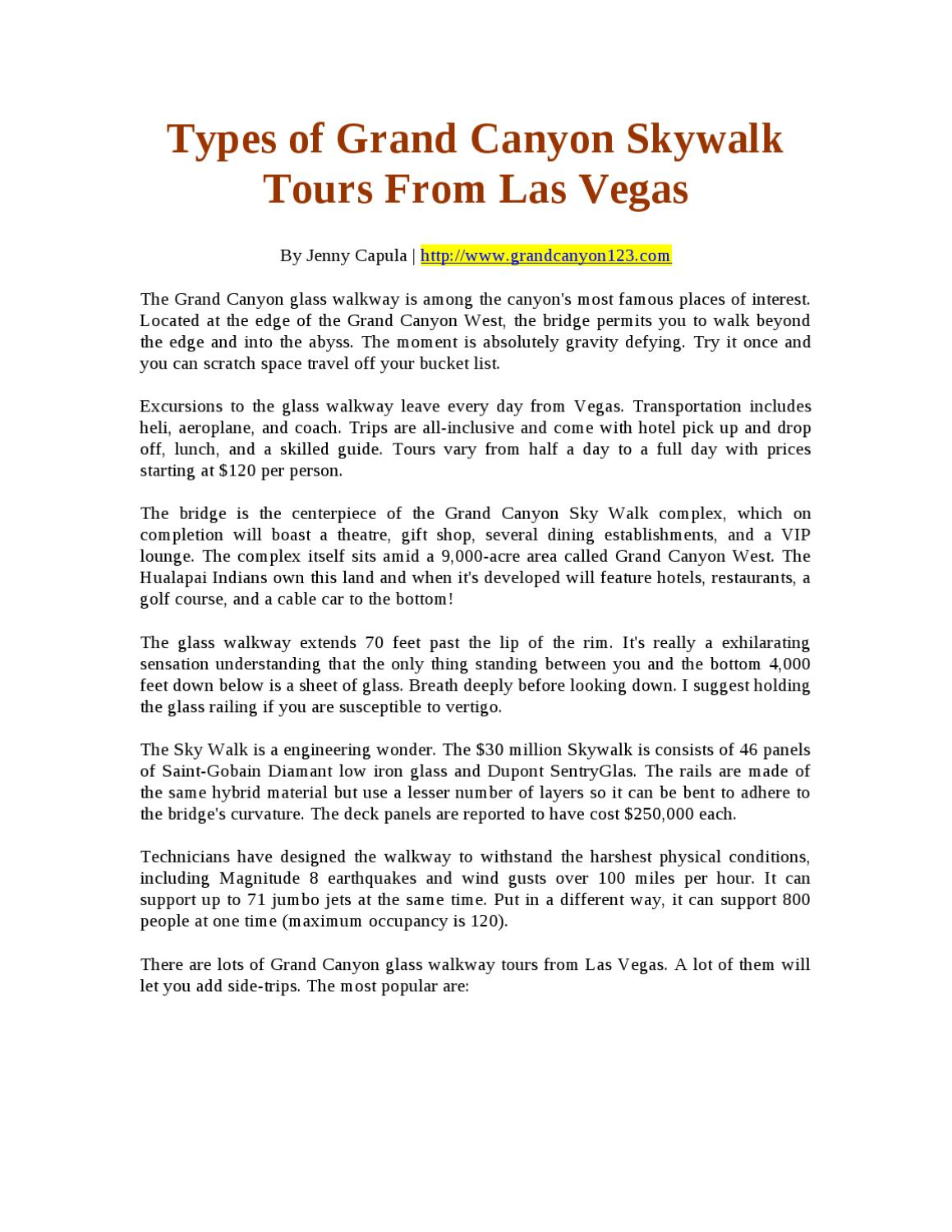 Types Of Grand Canyon Skywalk Tours From Las Vegas By Jenny