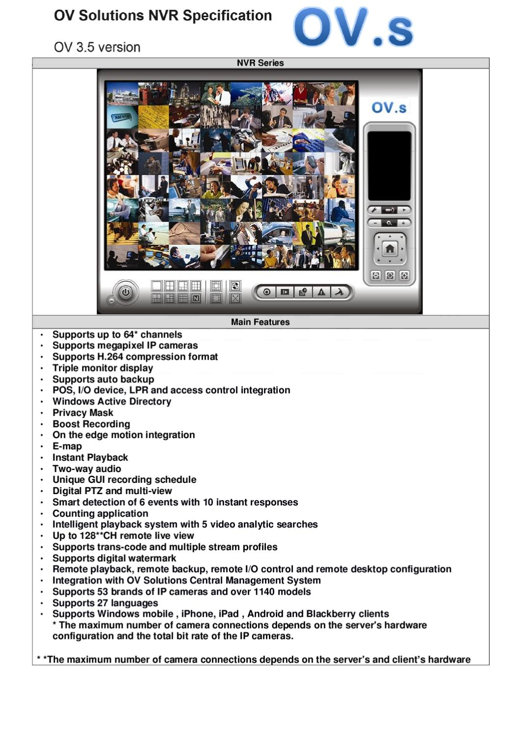 OVS Network Video Recorder Spec Sheet by OVS - issuu