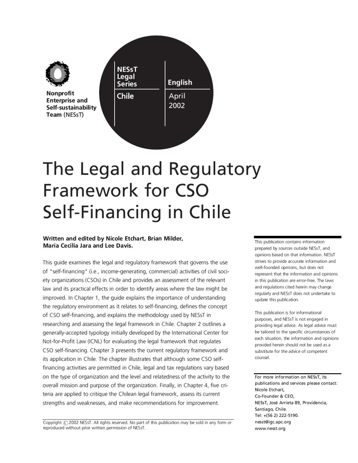 The Legal And Regulatory Framework For CSO Self Financing In Chile By NESsT    Issuu