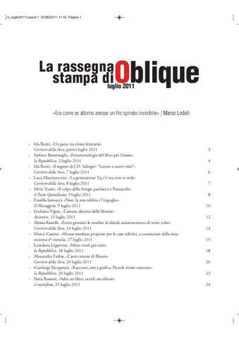 Bartezzaghi Sedia A Sdraio.Rassegna Stampa Di Oblique Luglio 2011 By Oblique Studio Issuu