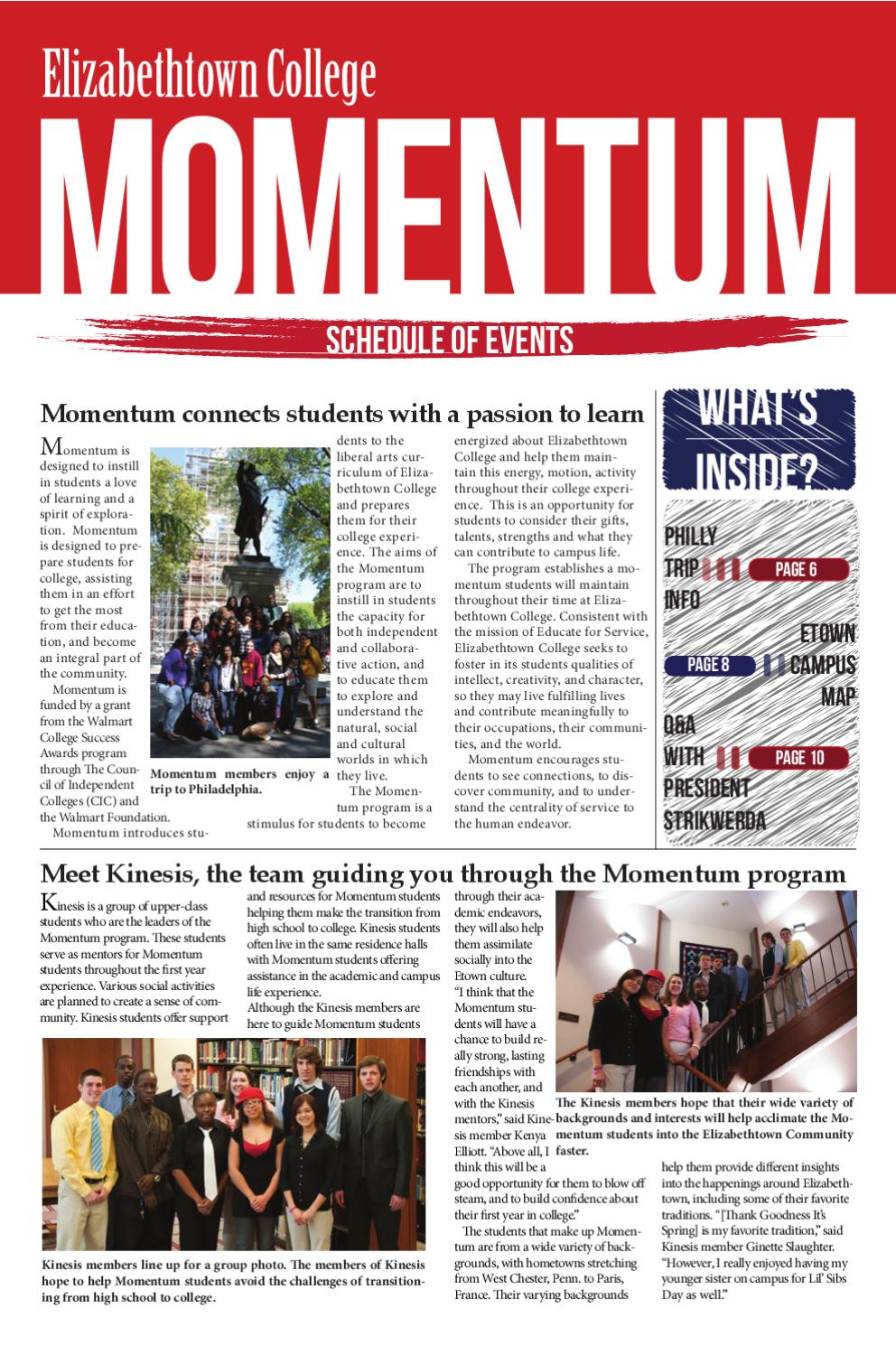 Momentum Schedule 2011 2012 By The Etownian Issuu
