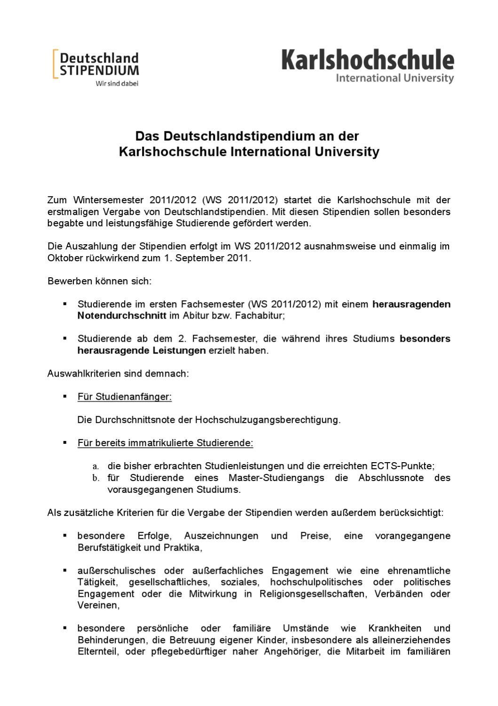 Deutschlandstipendium Bewerbung Ws 2011 2012