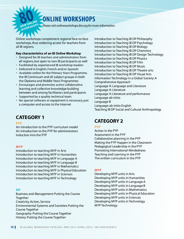 IB Professional Development Workshop Catalog by Catherine