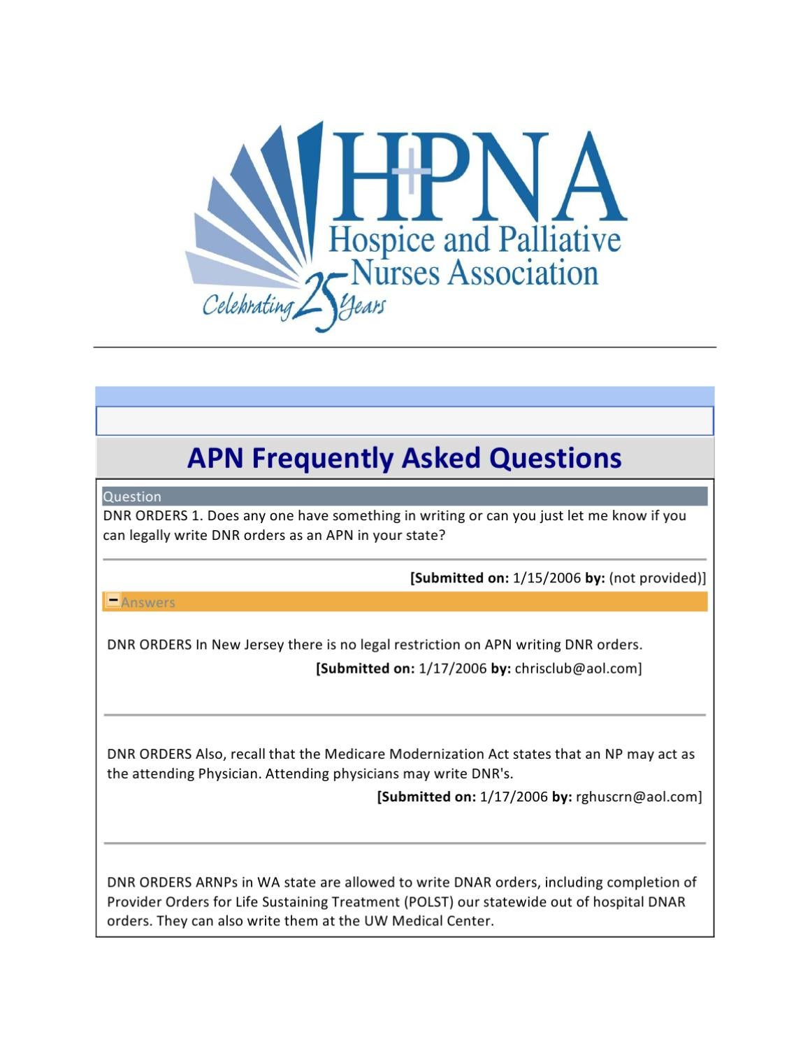 HPNA APN FAQ Repository by Hospice and Palliative Nurses Assocation ...
