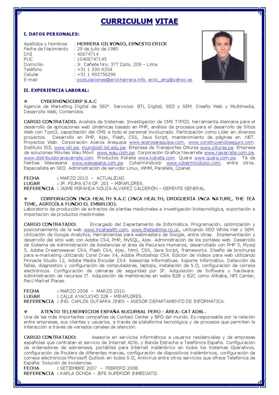 Curriculum Vitae 2011 - Ernesto Erick Herrera Gilvonio by Ernesto ...