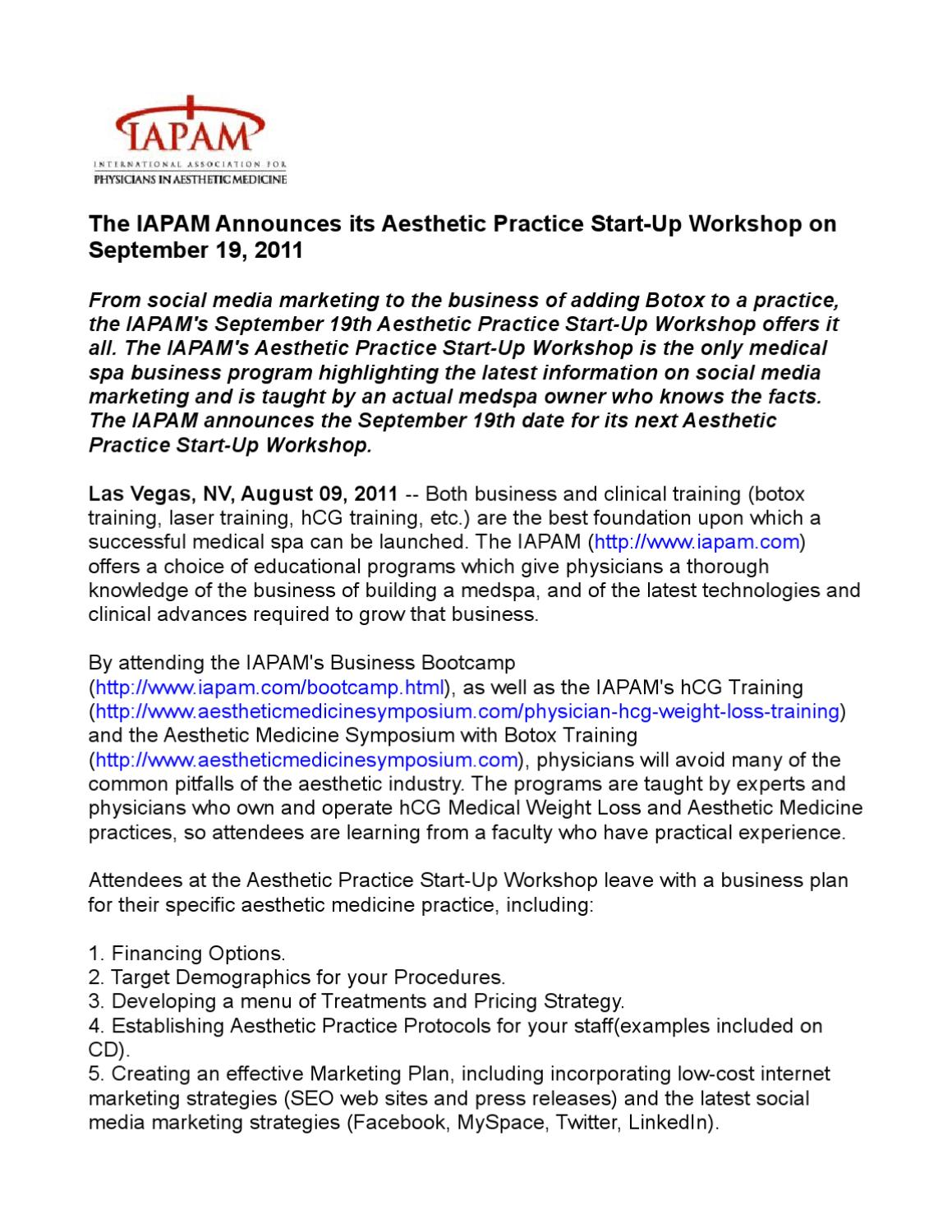 The IAPAM Announces its Aesthetic Practice Start-Up Workshop