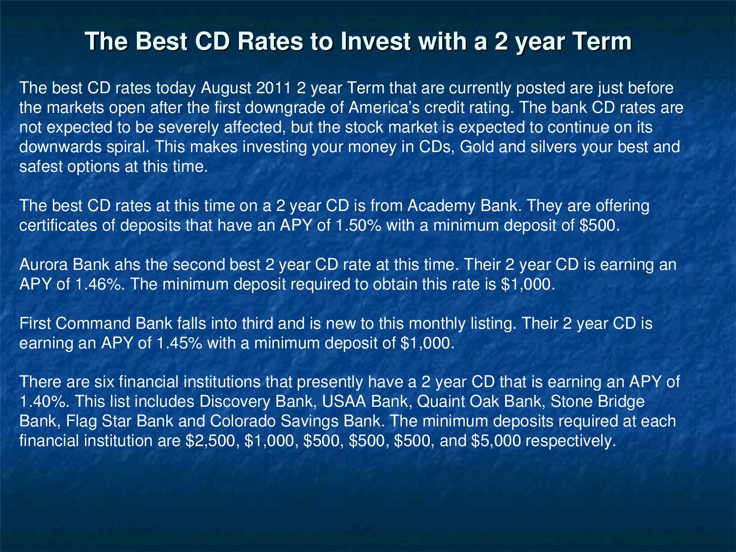 The best cd rates to invest with a 2 year term by hubert oden issuu 1betcityfo Gallery