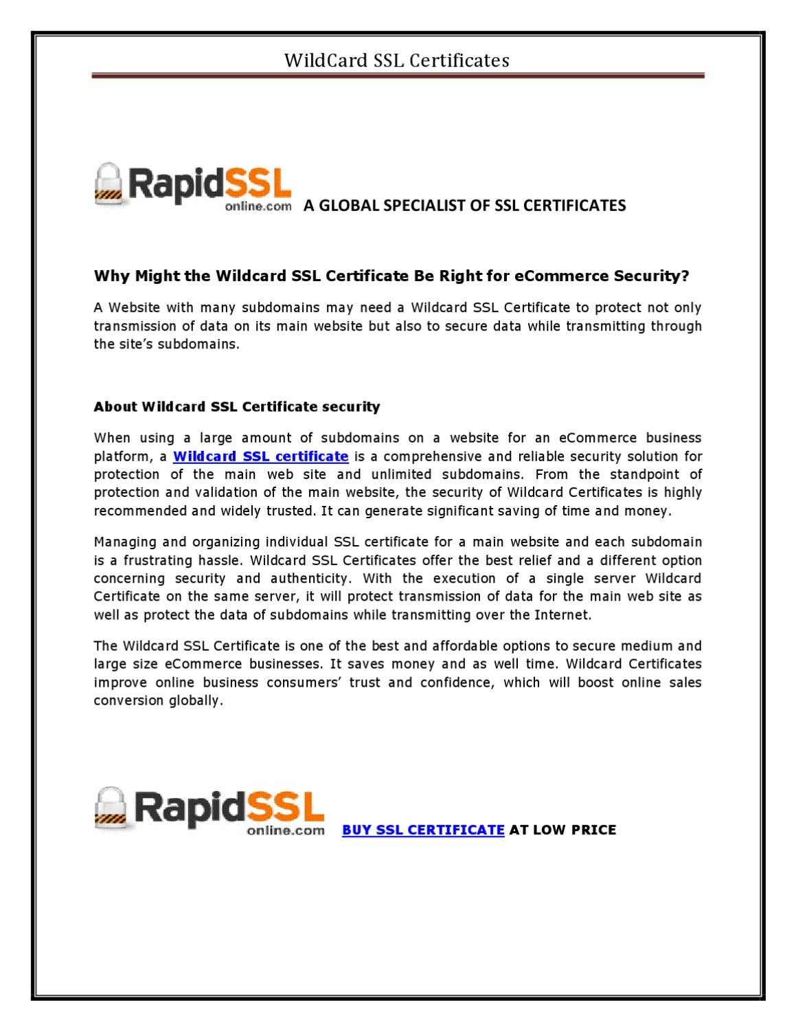 How Wildcard Ssl Certificate Useful For Ecommerce By Rapidsslonline
