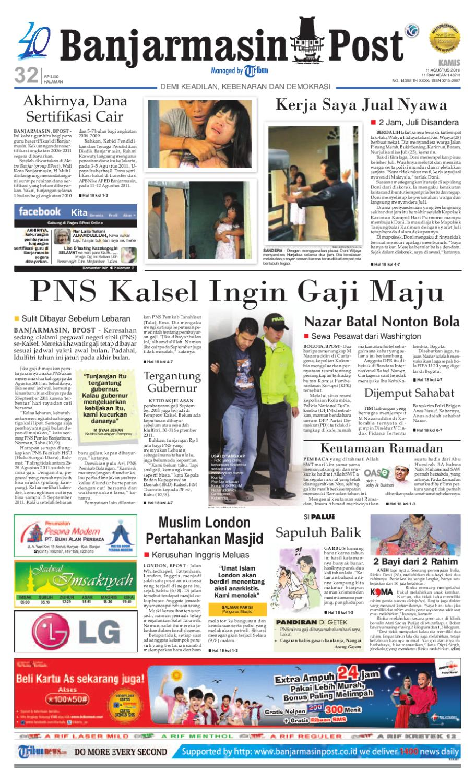 Banjarmasin Post Edisi Cetak Kamis 11 Agustus 2011 By Lg Kulkas Inverter Gn M572hphl 178cm Putih Bunga Khusus Jabodetabek Issuu
