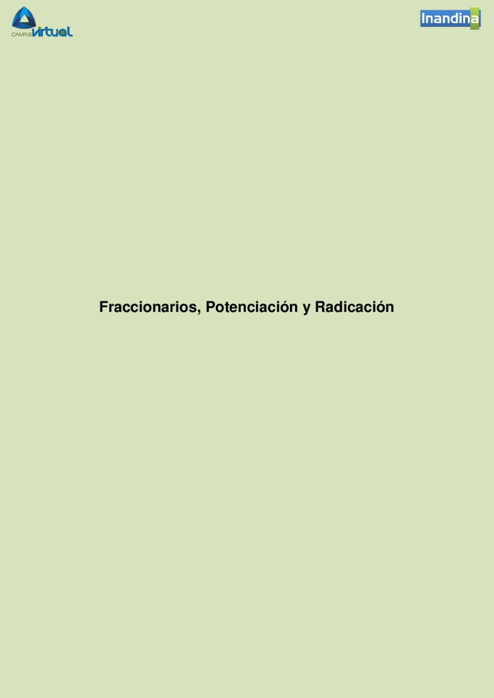 Fraccionarios Potenciación Y Radicación By Javier Cifuentes Issuu