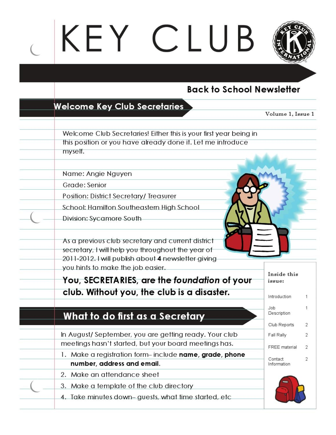 Club Secretary Back To School Newsletter By Angie Nguyen