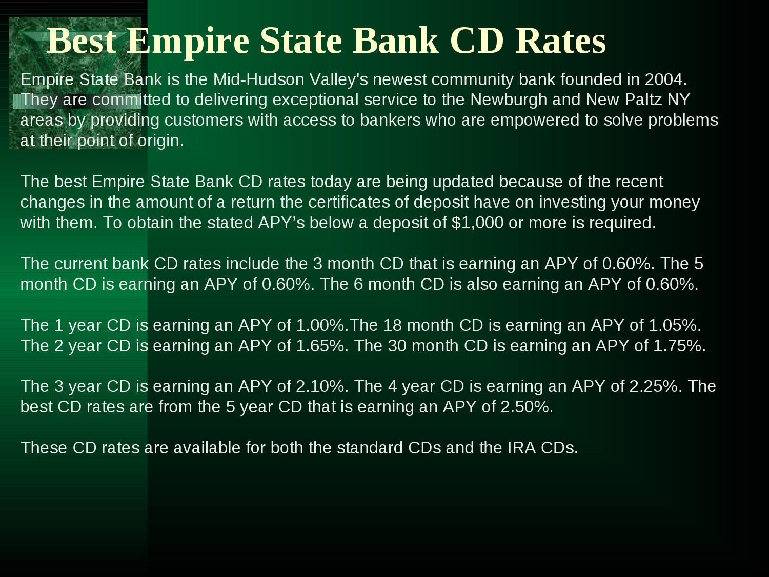 Best empire state bank cd rates by hubert oden issuu 1betcityfo Images