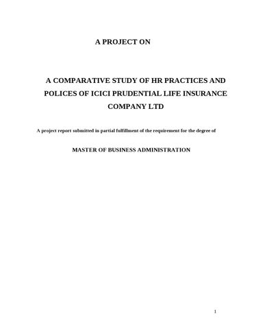 Comparative Study Of Hr Practices And Polices Of Icici Prudential By